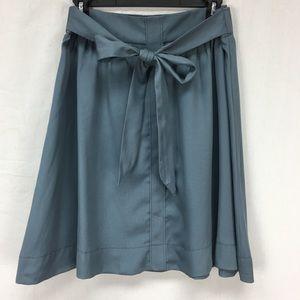 LOFT Slate Tie Waist Midi Skirt
